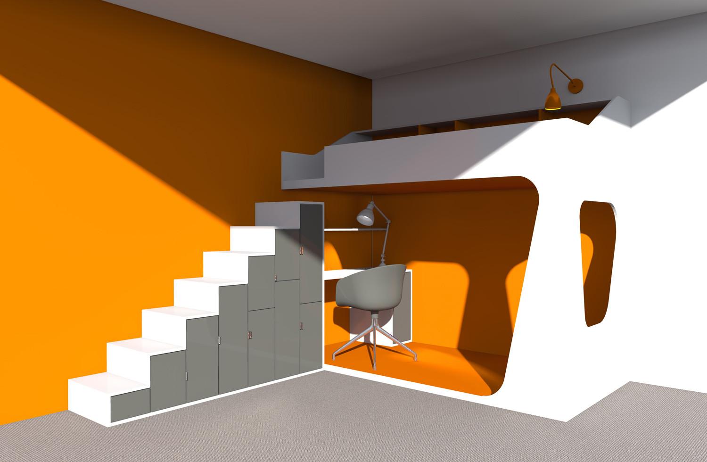 Lit mezzanine orange bis-BD