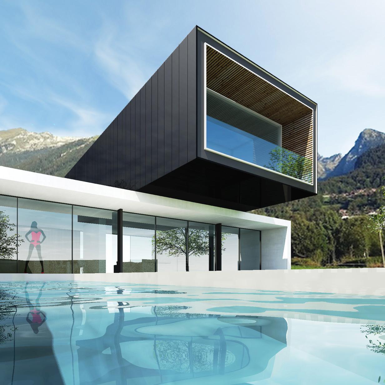 Vue piscine-carré